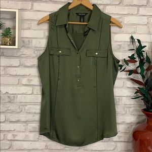 LIKE NEW! WHBM Forest Green Button Down Blouse